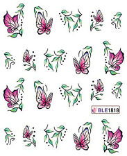Pink Butterfies Leaves Flower Water Transfers Nail Art Sticker Decals Decoration