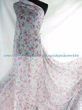 "Us Seller - 1 yard chiffon fabric small 59"" wide retro flower sheer teal blue"
