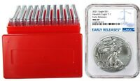 2021 1oz Silver Eagle NGC MS69 - Early Releases - Blue Label - 10 Pack w/Case