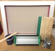 T-Shirt Screen Printing Kit Aluminum Silk Screen Frame Hinge Clamp Squeegee UK