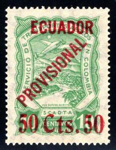 """ECUADOR - SCADTA - 50c PROVISIONAL """"50 Cts 50"""" STAMP - 1928 - Sc C6 - $ 700 RRR"""