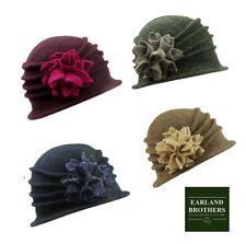 Ladies  Cloche Hat Contrast Flower 100% Wool Winter Wedding Hat  Soft Pull On