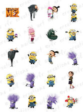 20 NAIL DECALS *DESPICABLE ME 2 CHARACTER ASST SET #2 * WATER SLIDE NAIL DECALS
