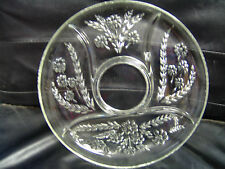 Vintage Heavy Glass Relish Plate Dish with Floral Design