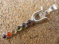 SILVER PLATED TWIN Serpente Design 7 Cabochon cristallo chakra guarigione CIONDOLO