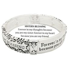 Sister Bracelet Sisters Blessing Forever In my Thoughts Heart Friend SILVER Love