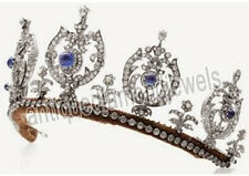14.70cts ROSE CUT DIAMOND SAPPHIRE ANTIQUE VICTORIAN LOOK 925 SILVER TIARA