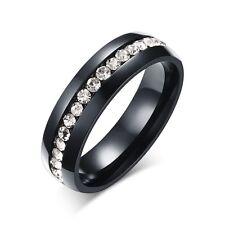CZ Couple Stainless Steel Ring Men/Women Titanium Eternity Wedding Band Size4-15
