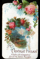 IMAGE CHROMO CHOCOLAT POULAIN / FLEURS ROSE & MYOSOTIS / BORD de MER