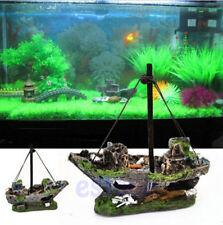 Sailing Boat Aquarium Destroyer Fish Tank Cave Decor Sunk Ship Wreck Ornament