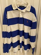 Polo Ralph Lauren Rugby Long Sleeve Shirt Sz L Blue White Striped