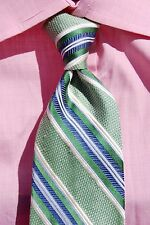 Façonnable Green & Blue Stripe Hand Sewn Silk Tie - Italy - Big & Tall