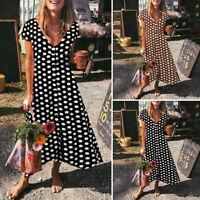 VONDA Women Printed Polka Dot Short Sleeve Buttons Shirt Dress Flare Long Dress