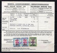 1957 South West Africa Revenue Receipt.S.G.93/94 3d Green/Brown & 6d Blue/Red x2
