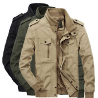 Men's Spring Autumn Outwear Military Jackets Casual Cotton Collar Jacket Coat XL