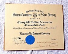 VINTAGE CERTIFICATE MEDICAL EXAMINERS OF NEW JERSEY BIO ANALYTICAL LAB 1959