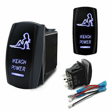 WENCH POWER On-Off Laser Etched Car Rocker Switch Control 5 Pins Blue LED 12V