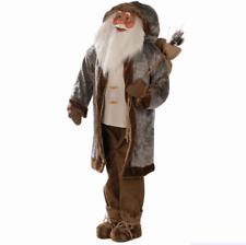 6ft Plush Life Size Grey Woodland Standing Santa Indoor Christmas Display