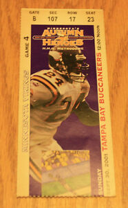 Minnesota Vikings Ticket Stub - September 30 2001 - Cris Carter 125th TD