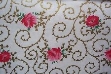 Vtg  40's Cotton Dress  Quilt Fabric Lovely Rose with Gold Vines