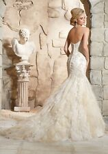 Mori Lee Wedding Dress Lt Gold #2772 NWT. Size 12 Ruffled Mermaid Sweetheart