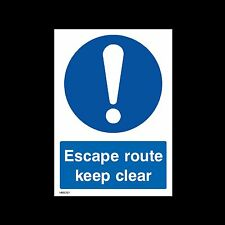 Escape Route Keep Clear Plastic Sign OR Sticker - A6 A5 A4 (MISC127)