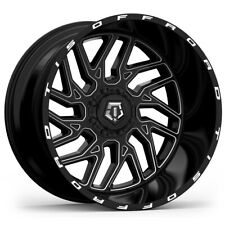 "5-TIS 544BM 20x12 5x4.5""/5x5"" -44mm Black/Milled Wheels Rims 20"" Inch Jeep JK JL"