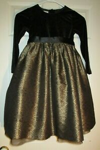 TALBOTS/KIDS~girl's~G*O*R*G*E*O*U*S/CHRISTMAS/BLACK/GOLD/LINED/DRESS! (6) NEW!
