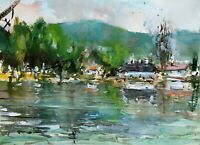 Landscape Painting Watercolor Original Countryside Impressionist Nature 11x7 in