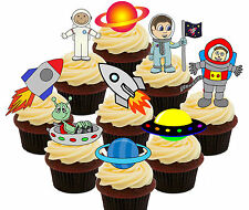 Space Party Rockets & Astronauts Edible Cup Cake Toppers, Stand-up Boys Birthday
