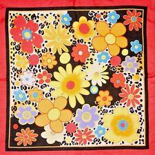 "100% Silk Scarf Red Floral 19"" X 19""  Square Bandanna Neckerchief Retro Look"