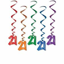 Pack of 5 Happy 21st Birthday Hanging Whirls - 91cm - Birthday Party Decorations