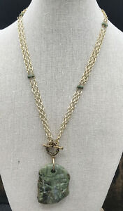 Barse Chiseled Toggled Necklace- Green Picture Jasper & Bronze- New with Tags