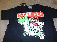 Super Mario Brothers Mens KO Yoshi  Nintendo Black T-Shirt Size Medium M