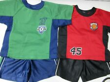 Toddlers Lot of 2 Short Sets Size 18 Month Green Navy and Red Black Faded Glory
