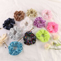 Women Lovely Solid Sequin Hair Bands Hair Scrunchies Hair Ties Ponytail Holders