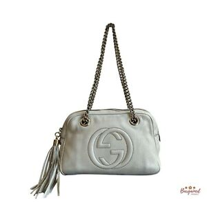 Authentic GUCCI Ivory Pebbled Leather Small Soho Chain Shoulder Bag 308983