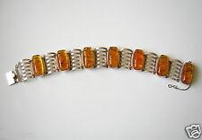 Antikes Fischland Gitter Armband mit Honig Bernstein 835 Silber Amber Bracelet