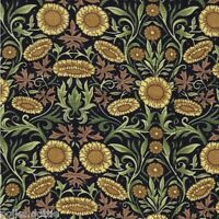 Small Sunflower Floral Fabric Black Background 112cm Wide Fine 100% Cotton