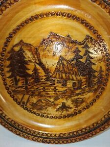 """Wooden Vintage Hand Decorated Mountain Cabin Scene Plate W/Hanger, GUC, 10.25"""""""