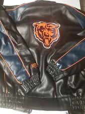 NFL CHICAGO BEARS PLEATHER JACKET SZ M - LOOKS BIGGER LOOK AT MEASUREMENTS..