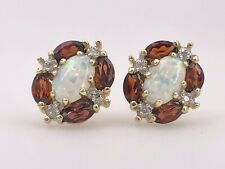 10K Yellow Gold Opal, Garnet & Diamond  Stud Earrings, New