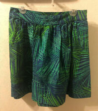 Banana Republic Green Blue Mini Skirt Size 8 Tropical Fern Print Linen Blend