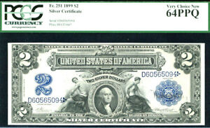 1899 $2 SILVER CERTIFICATE-FR 251 PCGS 64 PPQ-VERY CHOICE NEW