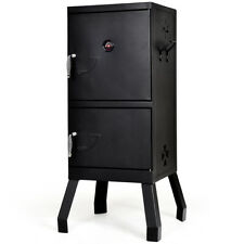 Vertical Charcoal Smoker BBQ Barbecue Grill w/ Temperature Gauge Outdoor Black