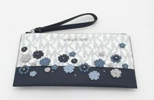 Michael Kors Floral and Monogram Large Zip Clutch (White/Blue)