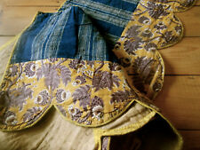 Antique French 18 19thc Ochre Purple Indienne Indigo Linen Cotton Pelmet Fabric