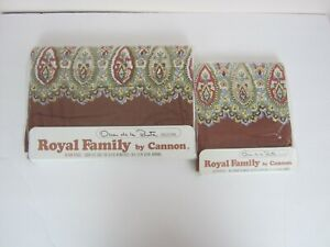 Vtg Cannon Royal Family 1 Queen Flat + 2 Standard Pillowcases Oscar de la Renta