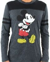 Licensed NEW DISNEY MICKEY MOUSE T Shirt Vintage Gray/ Black Long Sleeve RETRO