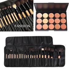 15 Colors Cosmetic Cream Contour Concealer Palette 24Pcs Wooden Makeup Brush Set